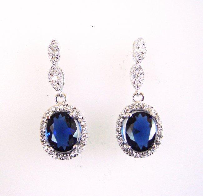 Creation Diamond/Blue Sapphire Earrings 3.00 Ct
