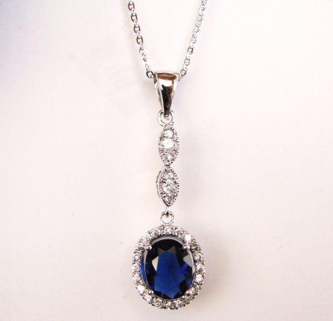 Creation Diamond/Blue Sapphire Necklace 1.93CT