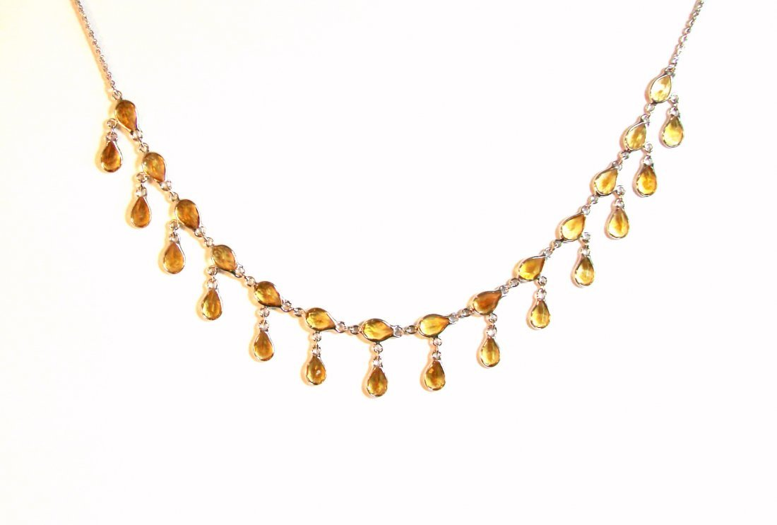 Citrine Necklace 25.48 Ct 18k W/g Overlay 925 Silver