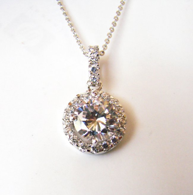 1035:Creation Diamond/ Necklace 3.63Ct 18k W/G Over 925