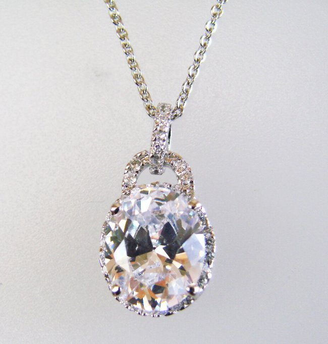 1036:Creation Diamond/ Necklace 3.10Ct 18k W/G Over 925