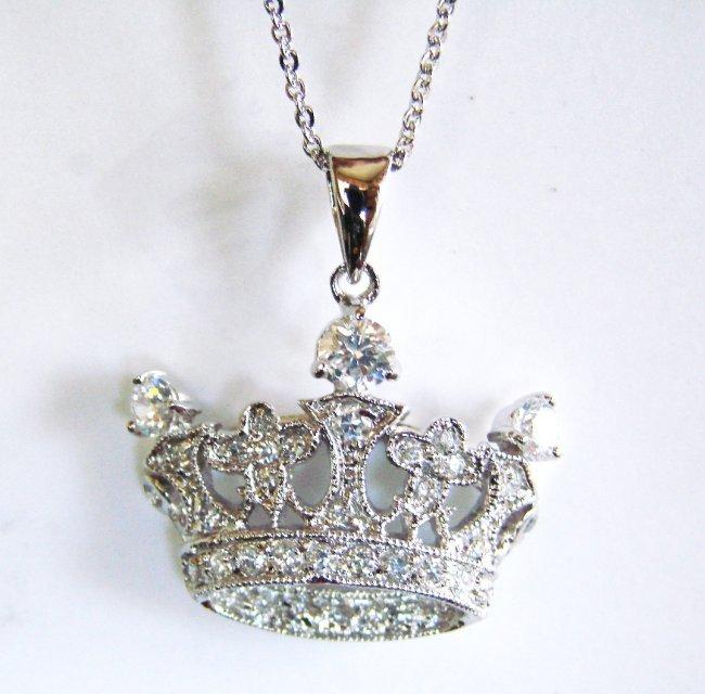 1038:Creation Diamond/ Necklace 1.20Ct 18k W/G Overlay