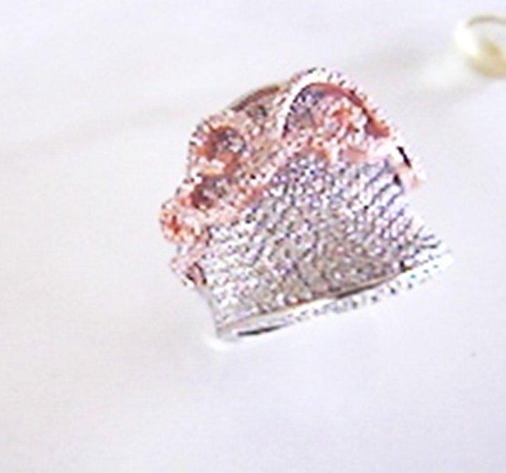 Creation Diamond Antiques Ring 3.64Ct18k W-R/g Overlay