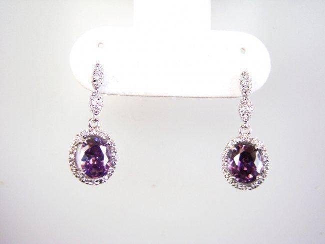 Creation Diamond/Amethyst Earrings 3.86CT