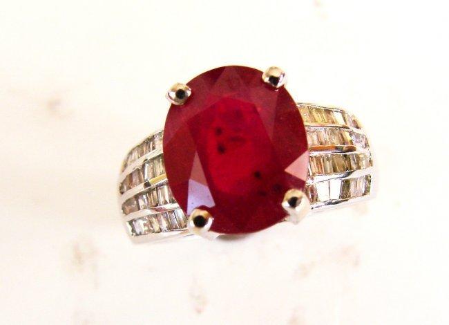 Ruby Diamond Ring 6.63Ct 18k White Gold