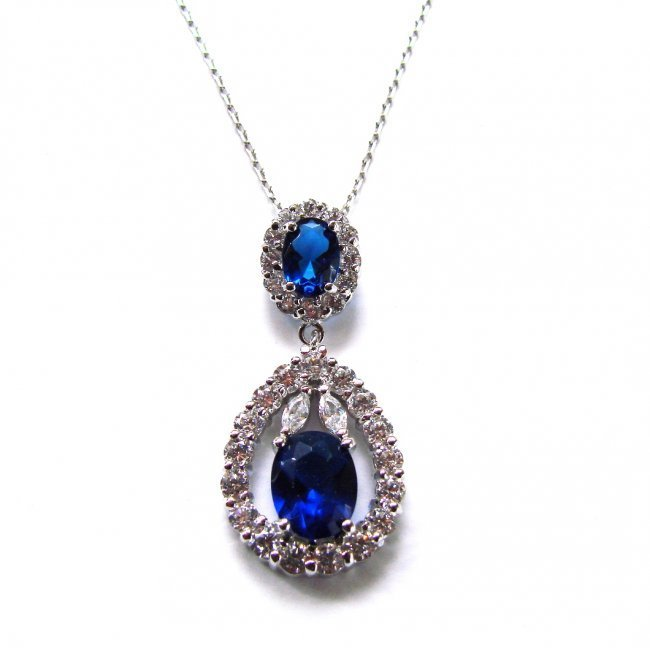 Creation Diamond/Blue Sapphire Necklace 5.88 CT