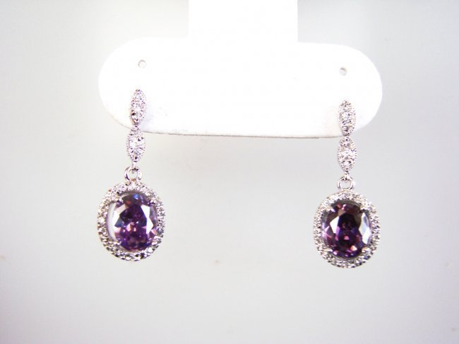 Creation Diamond/Amethyst Earrings 3.86CT
