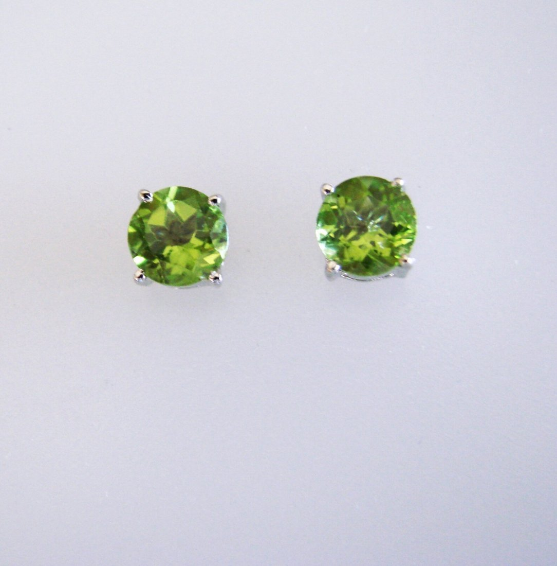 Natural Peridot Earrings 2.55 18k W/g Overlay