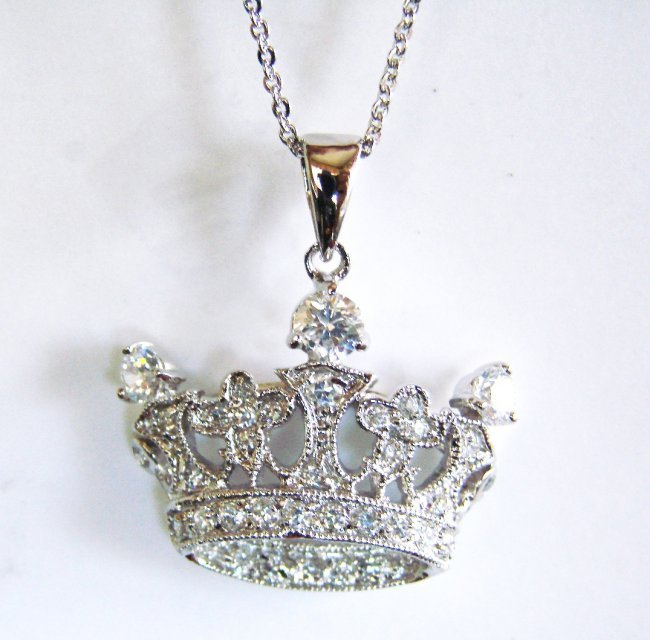 Creation Diamond/ Necklace 1.20CT 18k W/G Over 925