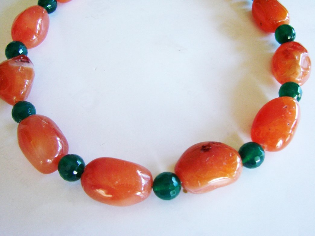 """Natural Agate & Green Onxy Necklace 17"""""""