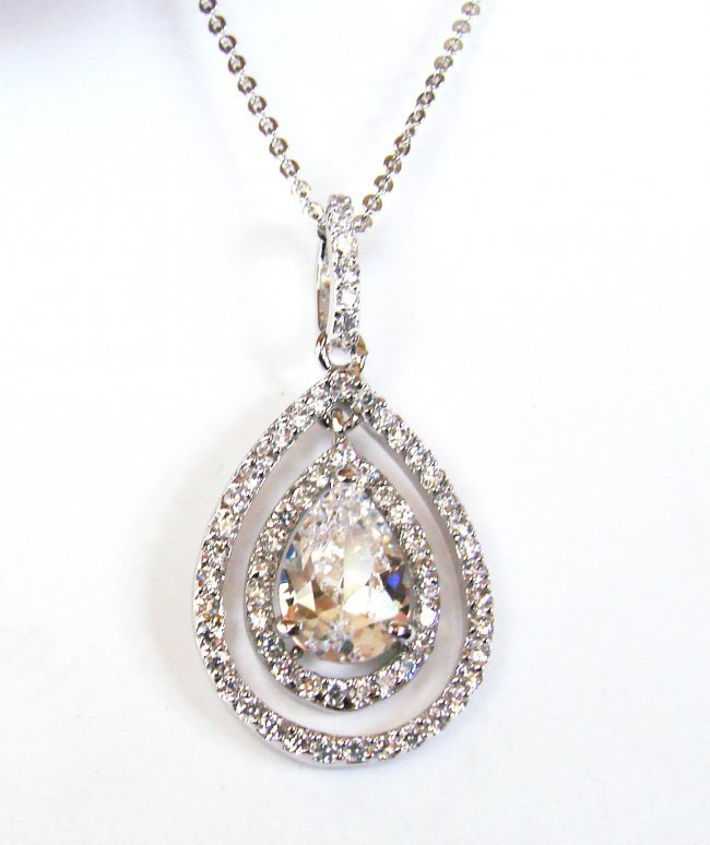 Creation Diamond Necklace 2.23CT 18k W/G Over 925