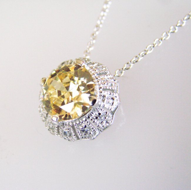 Creation Diamond/ Necklace 2.03CT 18k W/G Overlay