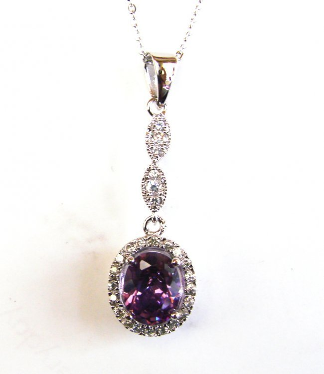Creation Diamond/Amethyst Necklace 2.23Ct 18k Overlay