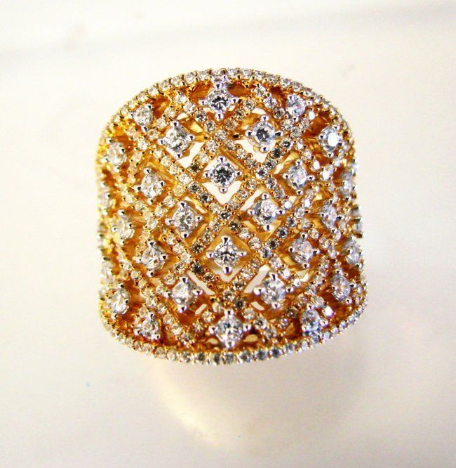 Creation Diamond Ring 2.75Ct 18k Y/g Overlay