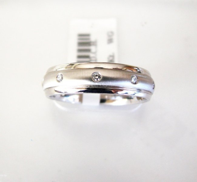 Men Wedding Ring Diamond .17Ct 14k W/g SZ-10.5