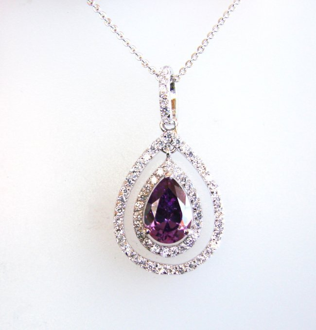 Creation Diamond Necklace 2.23CT 18k W/G Overlay