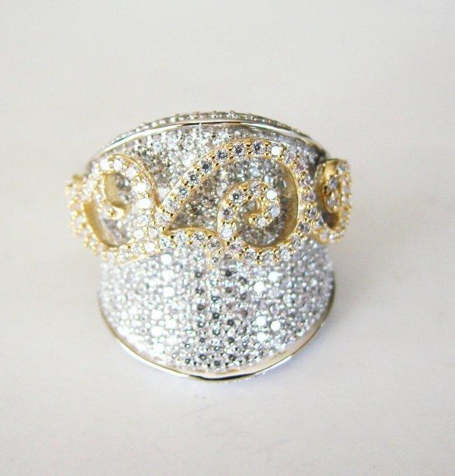 Creation Diamond Antique Ring 3.64Ct18k W-Y/G Overlay