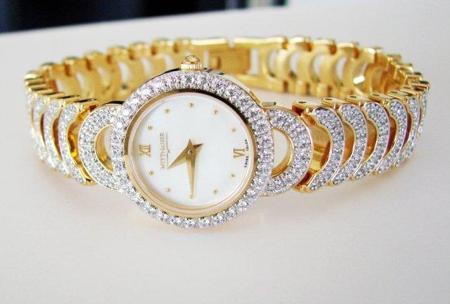 Wittnauer Ladies Watch Sapphire Crystals 18K Y/g Over