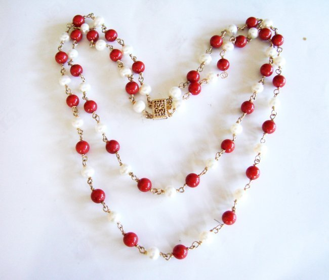 Natural Coral & Culture Pearl Necklace 18k Y/g Filled