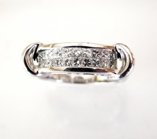 Anniversary Ring Diamond Princess Cut 1.47Ct 14k W/g