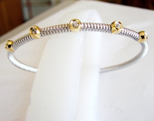 Creation Diamond Bangle Two Tone 18k W-Y/g Overlay
