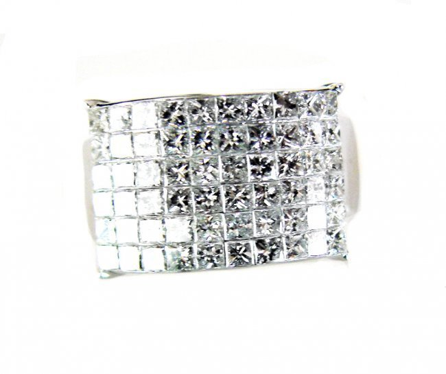 Invisible Princess Diamond Ring: 3.60CT 18k W/G