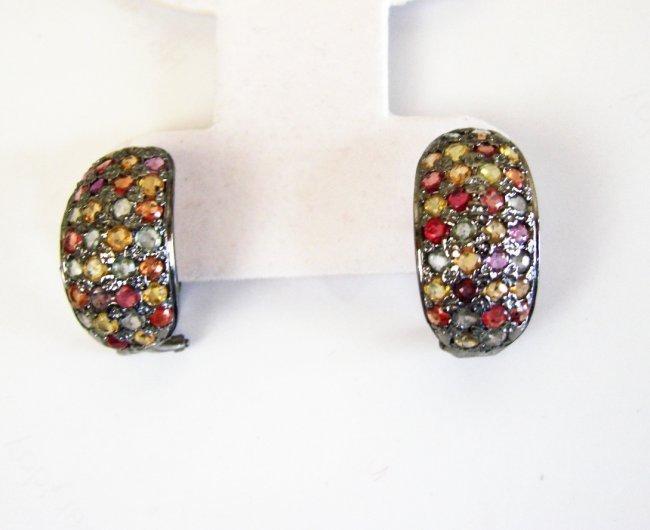 Natural Sapphire Multi Earrings 7.06Ct 18k B/g Overlay