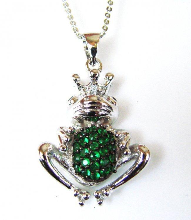 Creation Diamond/ Emerald Necklace .95CT