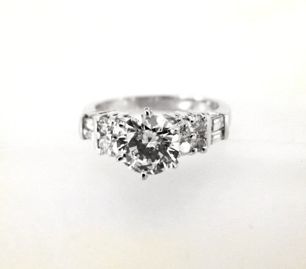 Wedding Diamond Ring 1.96 Carat 14k W/g