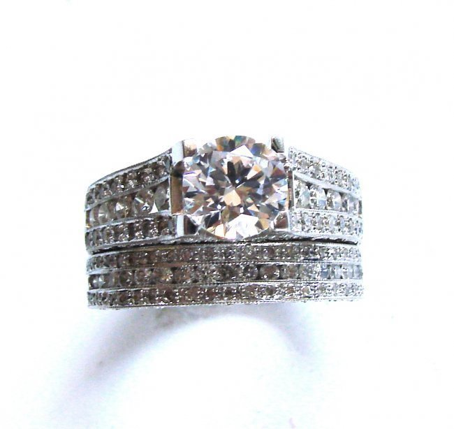 Diamond Wedding Ring 3.65Ct 14k White Gold Sz-7