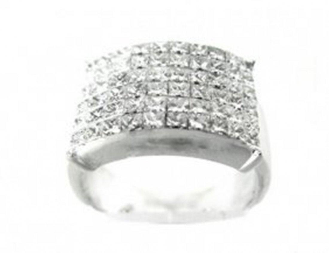 Invisible Princess Diamond Ring: 3.60CT 18k W/G - 2