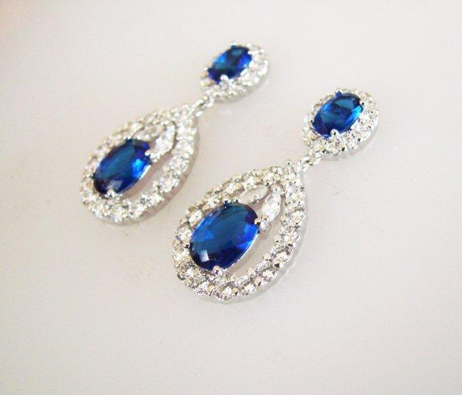Creation Diamond/Blue Sapphire Earrings 11.76 CT - 2
