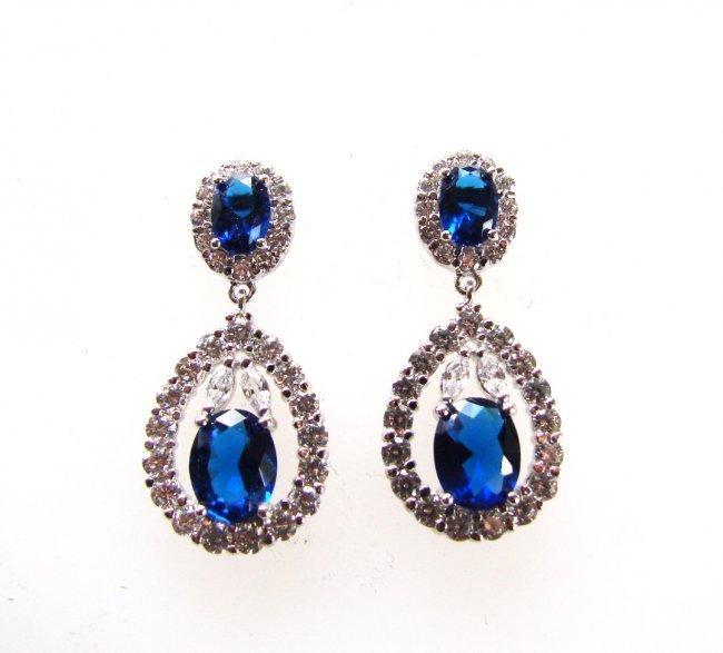 Creation Diamond/Blue Sapphire Earrings 11.76 CT - 3