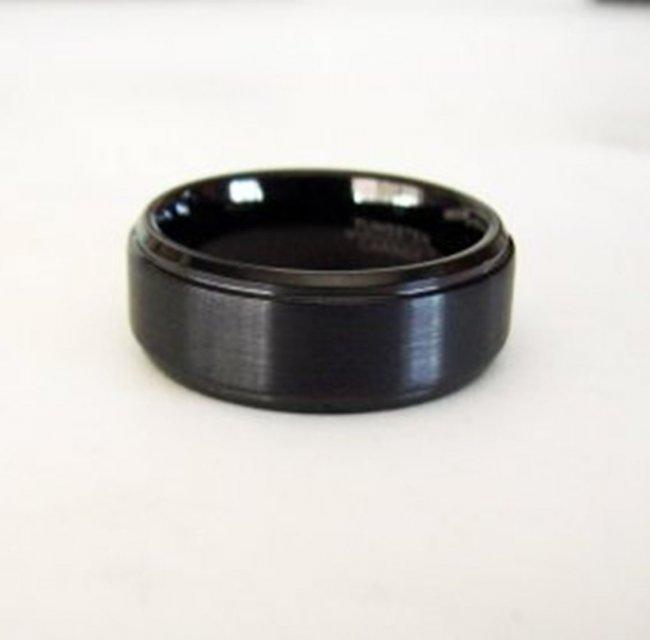 Tungsten Carbide Men Wedding Band Black Color 8mm Wide