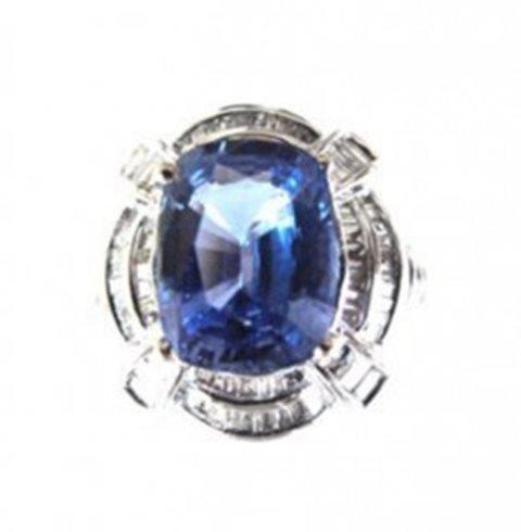 Natural Blue Sapphire Diamond Ring 9.63Ct 18k W/gSML W