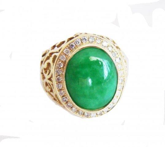 Man Ring Burma Jade /Diamond 8.76Ct 18k Y/g Size 8
