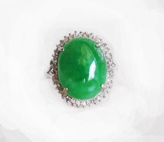 Anniversary Ring Burma Jade Diamond 8.75Ct 14k W/g