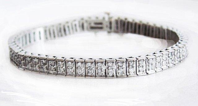 Tennis Diamond Bracelet 3.15Ct 14k W/g Size 7