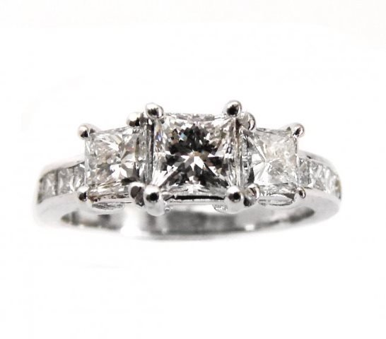 Engagement Diamond Ring 1.65 Ct 14k W/G