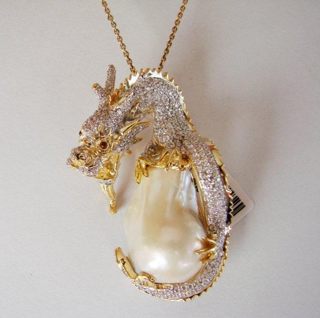 South Sea Pearl Baroque Creation Diamond 6.70Ct 18k Y/g