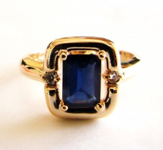 Diamond Sapphire Ring 1.16Ct 14k Y/g