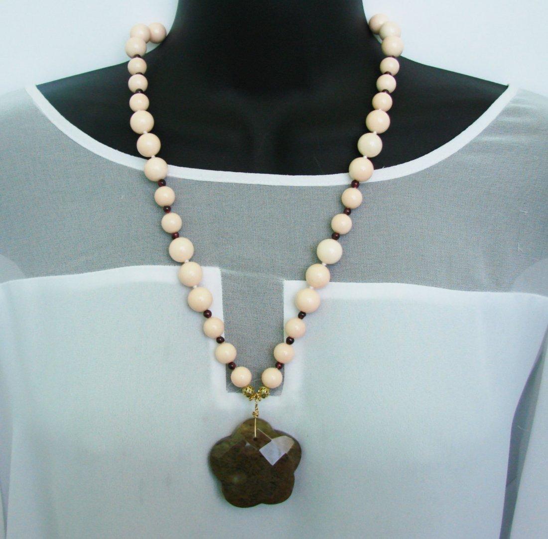 Pink Onyx/Garnet /Agate Bead Pendant 18k Gold Plated