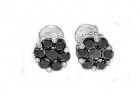 Invisible Black Diamond Stud Earring 1.12ct 14k W