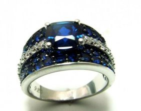 Creation Dia/ Sapphire Ring 3.75ct 18k W/g Over