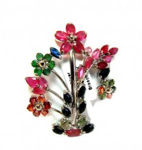 Natural Gems Multicolor Brooch 7.10 Ct 18k W/g Overlay