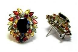 Natural Gems Multicolor Earrings 830 Carat 18k Wg