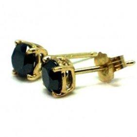 Black Diamond Stud Earrings 1.42ct 14k Y/g