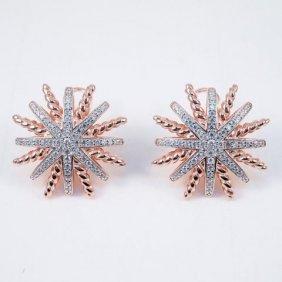 Creation Diamond Earrings 18k R/g Over 925