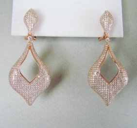 Creation Diamond Earrings 6.17ct 18k R/g Overlay