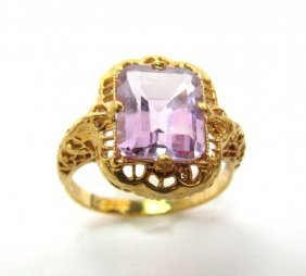 Amethyst Antique Ring 3.47ct 14k Yellow Gold